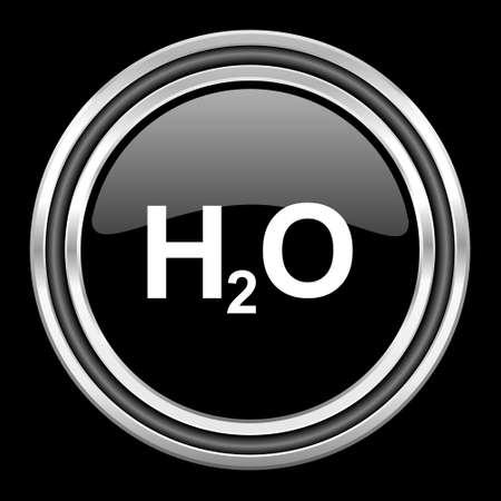 black metallic background: water silver chrome metallic round web icon on black background Stock Photo