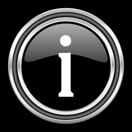 black metallic background: information silver chrome metallic round web icon on black background