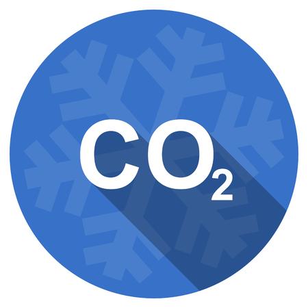 dioxido de carbono: el dióxido de carbono azul diseño plano invierno navidad icono de la web con copo de nieve