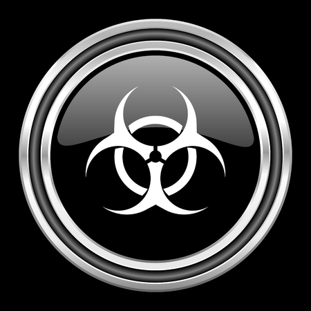 bacterioa: biohazard silver chrome metallic round web icon on black background