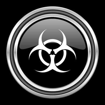 biohazard silver chrome metallic round web icon on black background