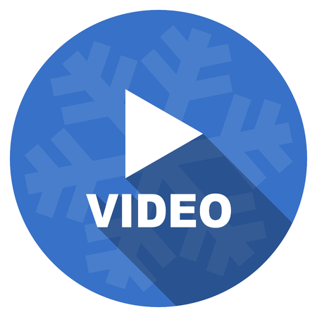holiday movies: video blue flat design christmas winter web icon with snowflake