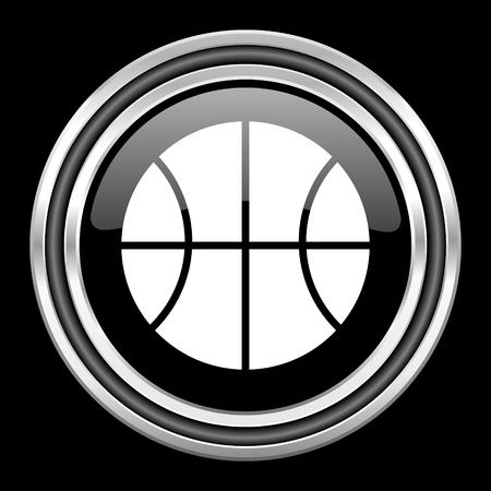 black metallic background: ball silver chrome metallic round web icon on black background