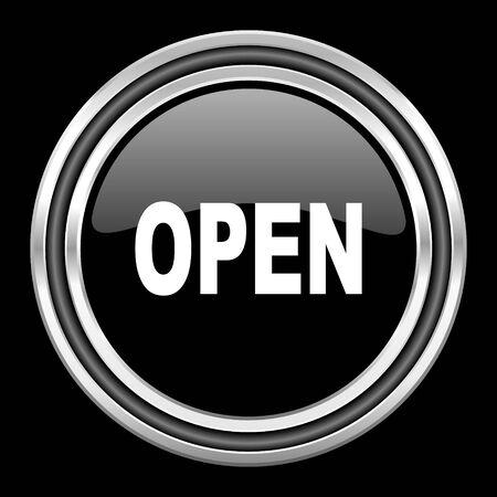 black metallic background: open silver chrome metallic round web icon on black background