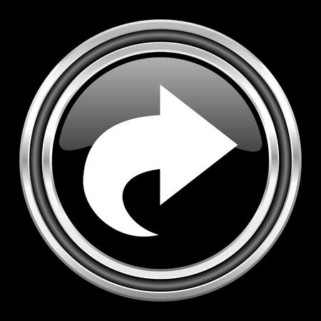 black metallic background: next silver chrome metallic round web icon on black background Stock Photo
