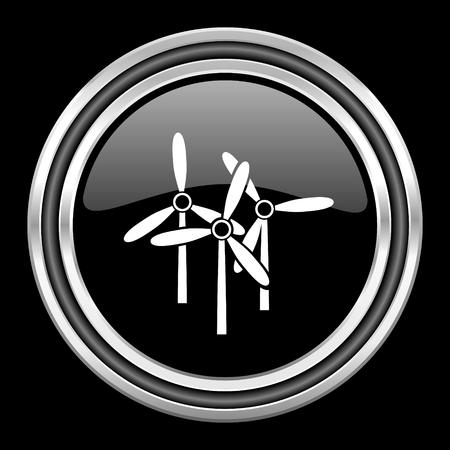 windmill silver chrome metallic round web icon on black background