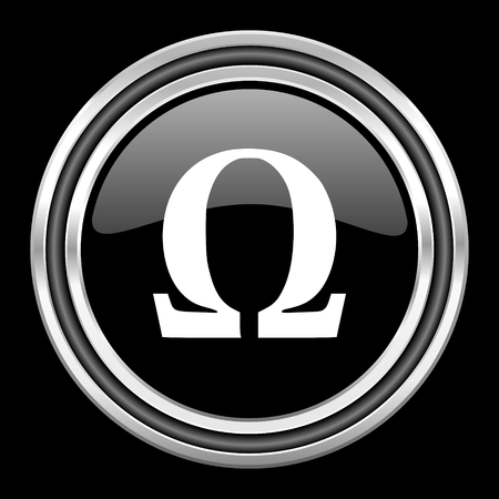 black metallic background: omega silver chrome metallic round web icon on black background