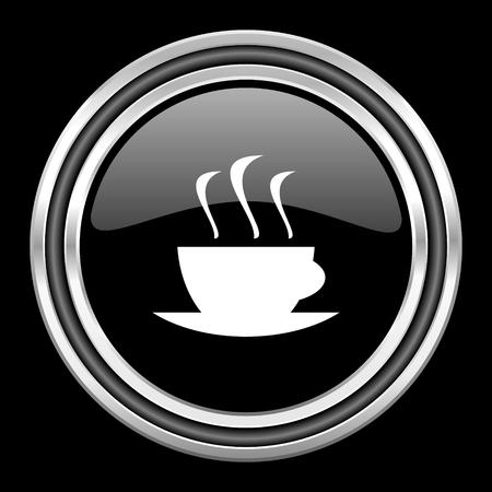 black metallic background: espresso silver chrome metallic round web icon on black background