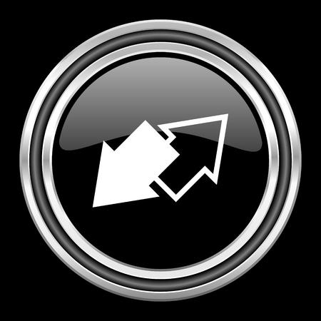 black metallic background: exchange silver chrome metallic round web icon on black background
