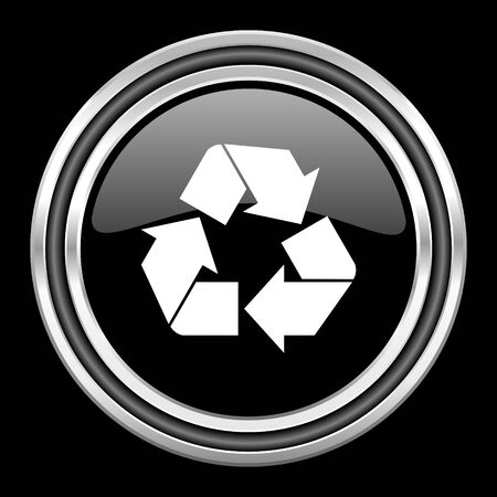 black metallic background: recycle silver chrome metallic round web icon on black background