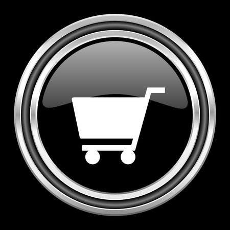 black metallic background: cart silver chrome metallic round web icon on black background