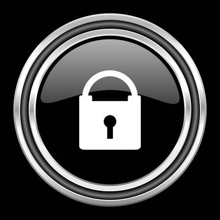 black metallic background: padlock silver chrome metallic round web icon on black background