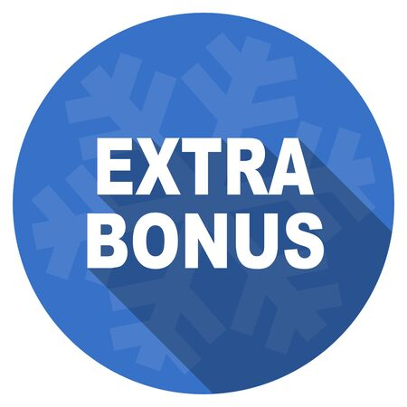 discounting: extra bonus blue flat design christmas winter web icon with snowflake Stock Photo