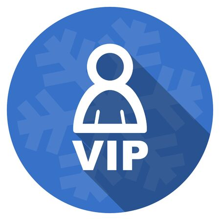 members only: vip blue flat design christmas winter web icon with snowflake