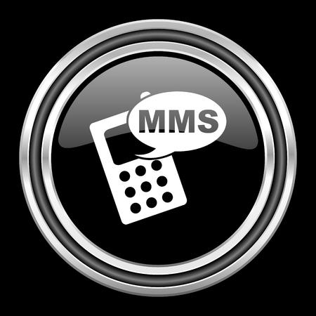 mms icon: mms silver chrome metallic round web icon on black background