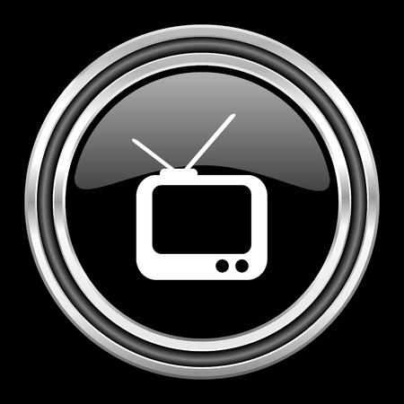 black metallic background: tv silver chrome metallic round web icon on black background Stock Photo