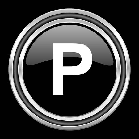 black metallic background: parking silver chrome metallic round web icon on black background
