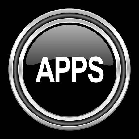 black metallic background: apps silver chrome metallic round web icon on black background Stock Photo