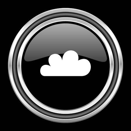 black metallic background: cloud silver chrome metallic round web icon on black background Stock Photo