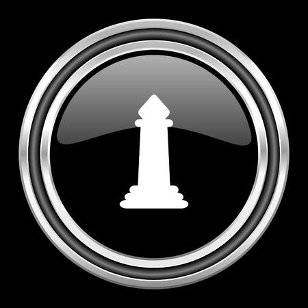 black metallic background: chess silver chrome metallic round web icon on black background