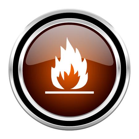 flame round circle glossy metallic chrome web icon isolated on white background