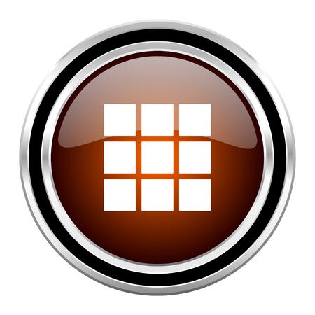 thumbnails: thumbnails grid round circle glossy metallic chrome web icon isolated on white background Stock Photo