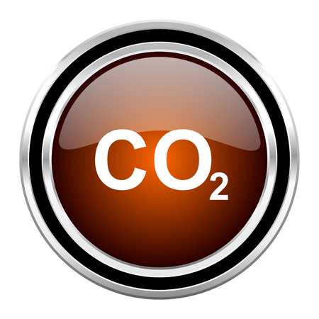 carbon dioxide: carbon dioxide round circle glossy metallic chrome web icon isolated on white background Stock Photo