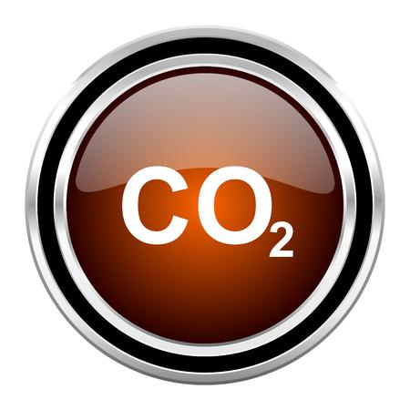 dioxido de carbono: el dióxido de carbono círculo redondo metálico brillante del icono de Chrome Web aislada en el fondo blanco