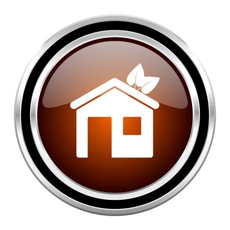round button: house round circle glossy metallic chrome web icon isolated on white background