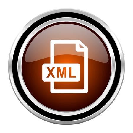 xml: xml file round circle glossy metallic chrome web icon isolated on white background