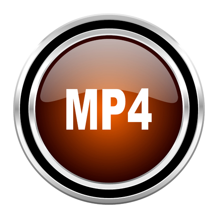 mp4: mp4 round circle glossy metallic chrome web icon isolated on white background Stock Photo