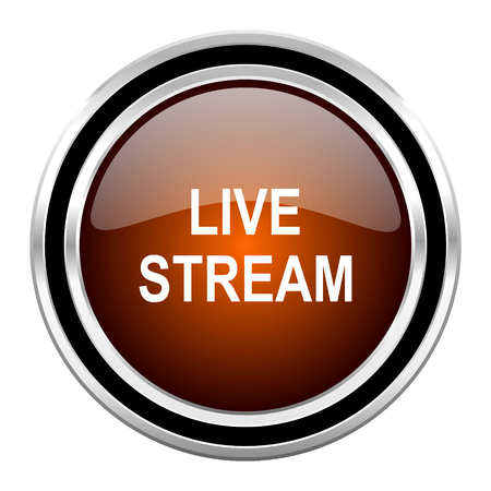 live stream movie: live stream round circle glossy metallic chrome web icon isolated on white background Stock Photo
