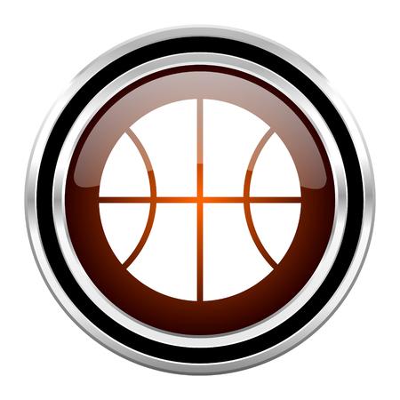 chrome ball: ball round circle glossy metallic chrome web icon isolated on white background Stock Photo