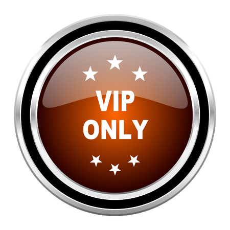 private club: vip only round circle glossy metallic chrome web icon isolated on white background Stock Photo
