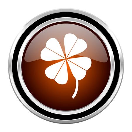four-leaf clover round circle glossy metallic chrome web icon isolated on white background Stock Photo