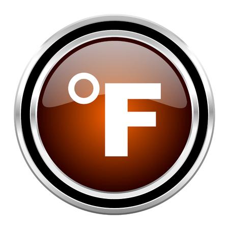 celcius: fahrenheit round circle glossy metallic chrome web icon isolated on white background Stock Photo