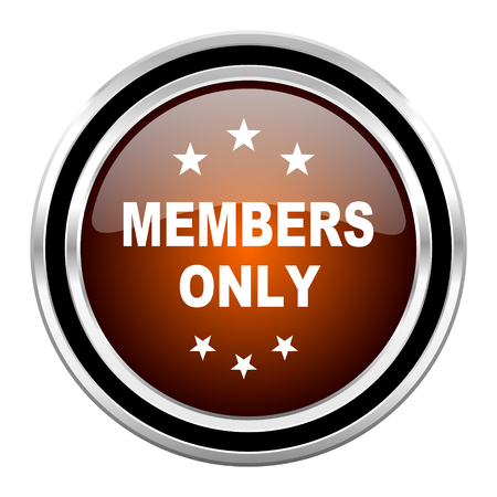 members only: members only round circle glossy metallic chrome web icon isolated on white background