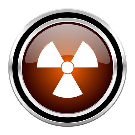radiation round circle glossy metallic chrome web icon isolated on white background Stock Photo