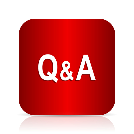 question and answer: question answer red square modern design icon