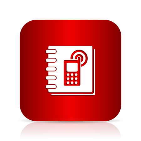 phonebook: phonebook red square modern design icon