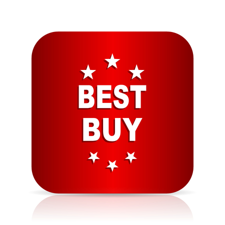 best buy: best buy red square modern design icon Stock Photo