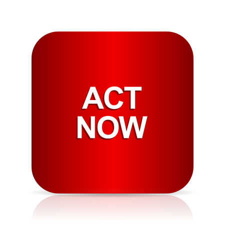act: act now red square modern design icon
