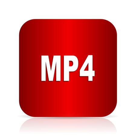mp4: mp4 red square modern design icon