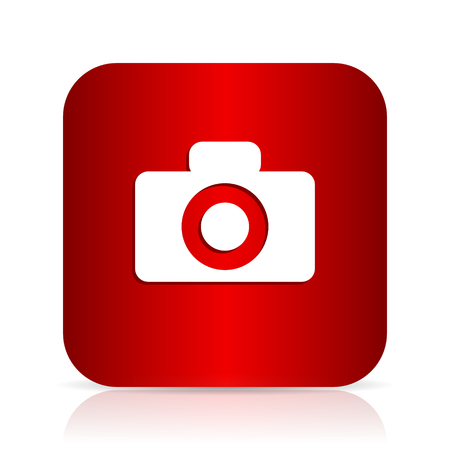 camera red square modern design icon