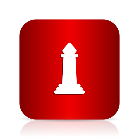 king master: chess red square modern design icon Stock Photo