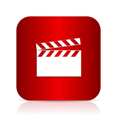 cinematograph: video red square modern design icon
