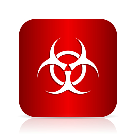 bacterioa: biohazard red square modern design icon