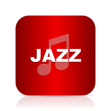 live stream sign: jazz music red square modern design icon