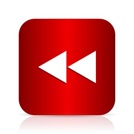 rewind: rewind red square modern design icon