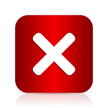 disagree: cancel red square modern design icon Stock Photo